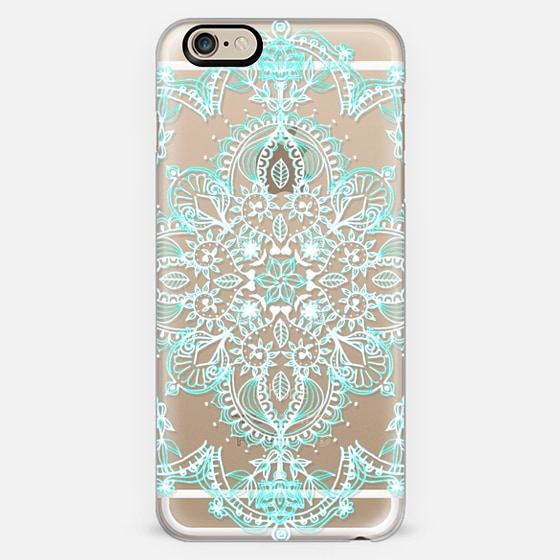 Aqua And White Lace Mandala Transparent Iphone 6 Case By