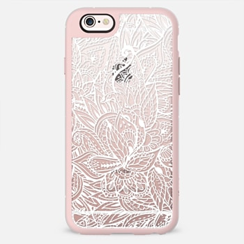 White hand drawn leaf pattern lace by Girly Trend