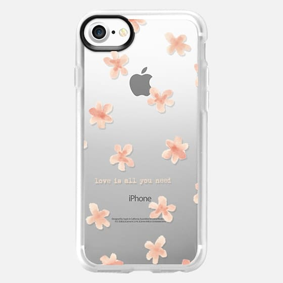 Watercolor flowers Love is all you need - Classic Grip Case