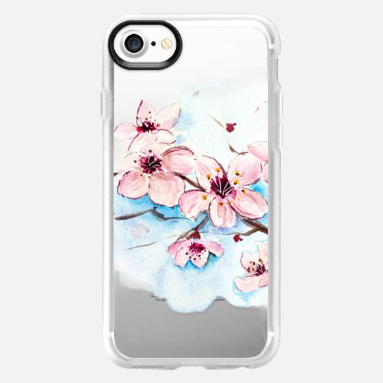 Sakura Watercolor Floral Painting Original Design Transparent - Wallet Case