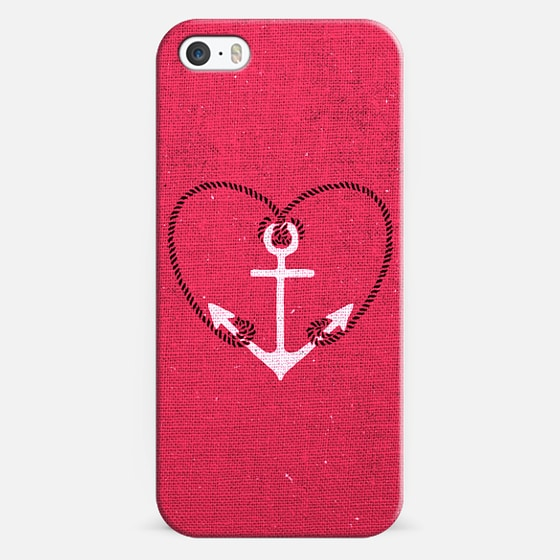 Fuschia Pink Vintage White Anchor Girly Love Heart -