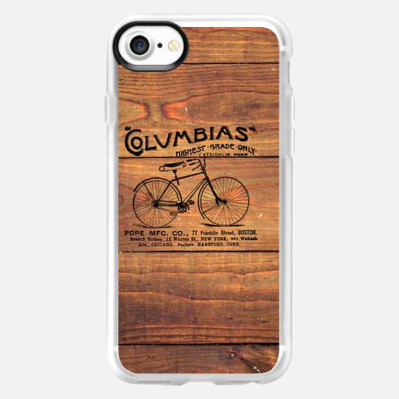 Black Brown Vintage American Bicycle on Wood Print -