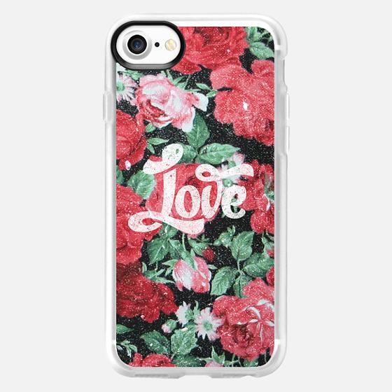 Red Pink Roses Chic Love Vintage Floral Pattern -