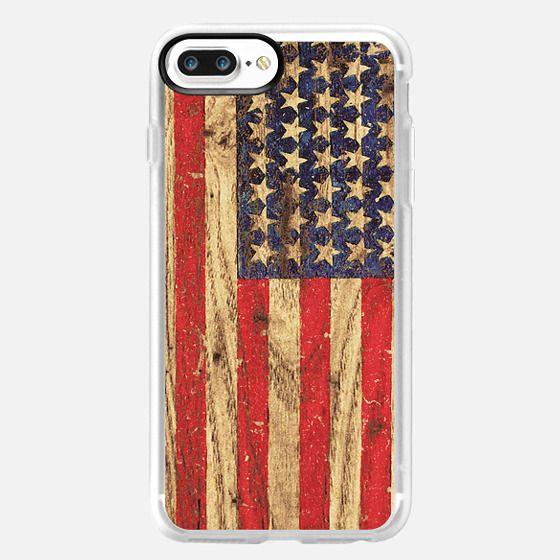 Vintage Patriotic American Flag on Old Wood Grain -