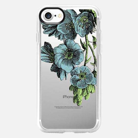 Blue Floral Illustration - Wallet Case