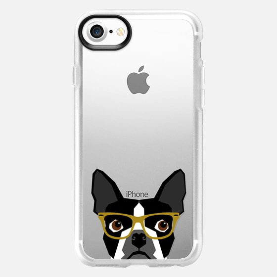 Boston Terrier Hipster Glasses cell phone case for transparent iPhone lovers - Wallet Case