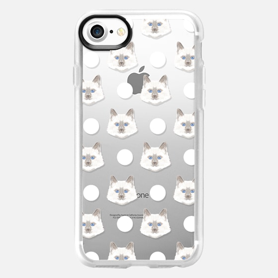 adorable kitten face dot polka dot white clear cell phone iphone transparent case with cat  - Wallet Case
