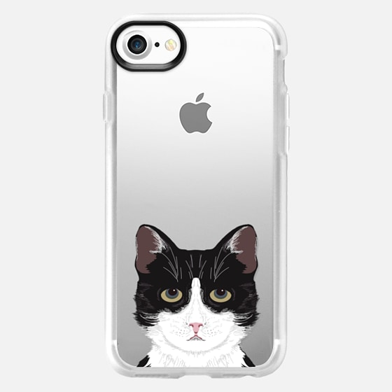 Funny black and white cat for cat lady hipster tuxedo cat kitten transparent phone case with cat print -