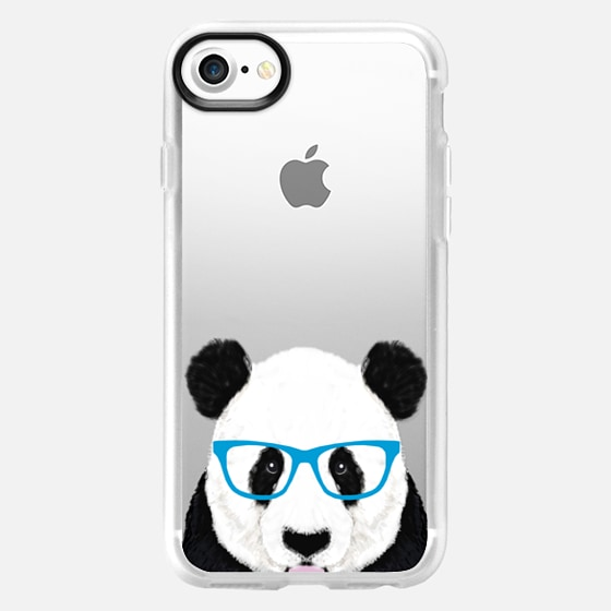 nerdy panda cute funny hipster panda glasses illustration wildlife nature forest kawaii transparent cell phone case with panda - Wallet Case