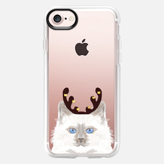 Cute pet cell phone cat lady white fluffy adorable cat with reindeer costume santa christmas pet outfit  -