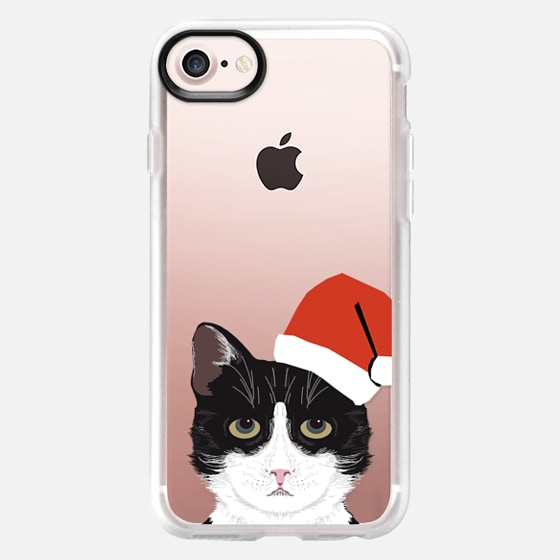 Funny black and white tuxedo cat with santa hat christmas party costume for cat - Wallet Case