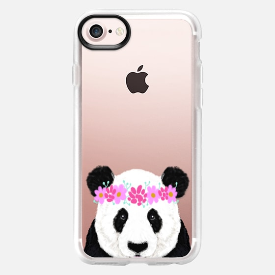 Panda wearing flowers funny black and white panda bear kids cell phone cases for animal lovers - Wallet Case