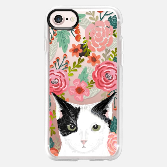Tuxedo Cat black and white fluffy kitten cute cat cell phone transparent florals iphone6 gift for cat lady - Wallet Case