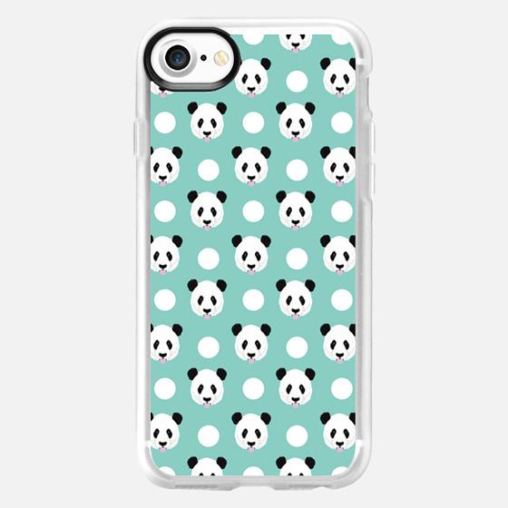 Panda polka dots mint black and white panda love iphone6 cell phone case pet friendly - Wallet Case