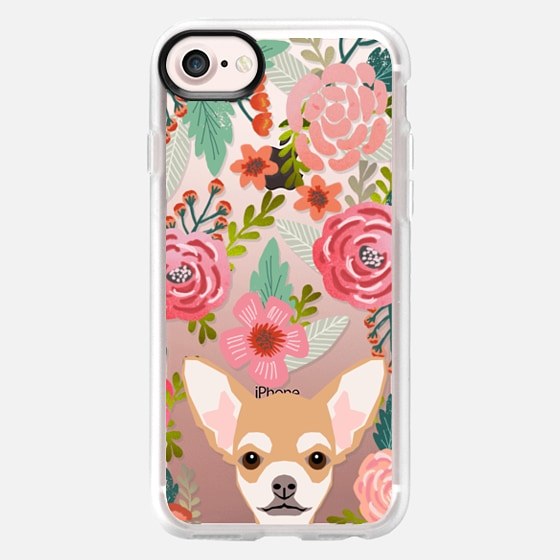 Chihuahua florals flower blooms boho girly hipster transparent cell phone iphone6 cases pet friendly tech accessories  -
