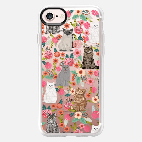 Cat Flowers cat lady must have cute summer cell phone case design cat breeds funny felines iphone6 transparent case -