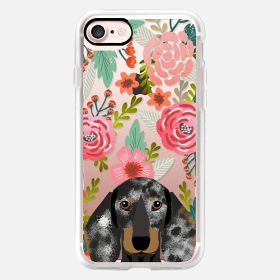 Doxie dappled coat dachshund florals cute cell phone case for dachshund owners -