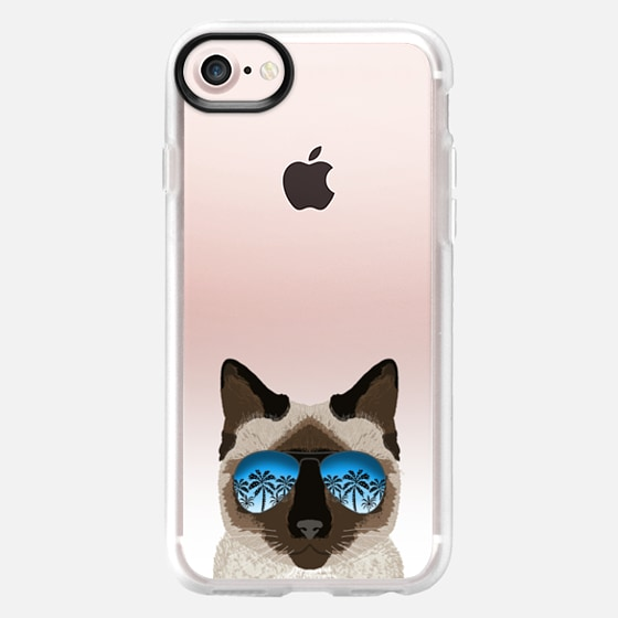 Siamese cat sunglasses ombre clear transparent cell phone case for cats lovers - Classic Grip Case
