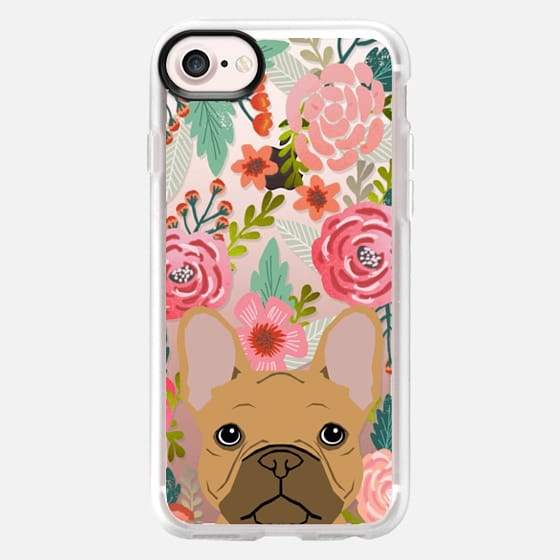 French Bulldog tan cute pet portrait florals spring summer flowers transparent cell phone case  -