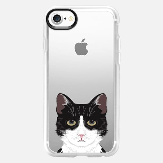 Funny black and white cat for cat lady hipster tuxedo cat kitten transparent phone case with cat print - Classic Grip Case