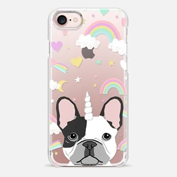 iPhone Case -  French Bulldog black and white coat frenchie unicorn and rainbows clear case transparent cell phone dog pet friendly gifts