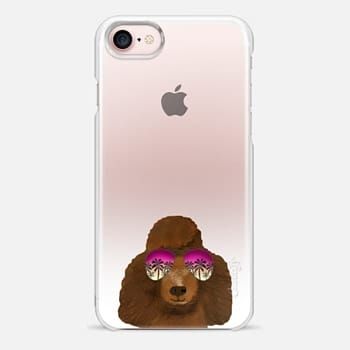 iPhone Case -  Poodle black coat sunglasses ombre clear transparent cell phone case for dog lovers