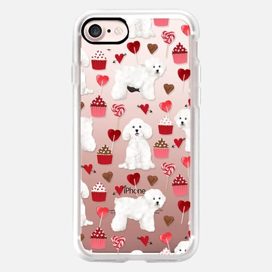 Bichon Frise valentines day cupcakes pattern phone case tech accessories for dog lovers dog breeds - Classic Grip Case