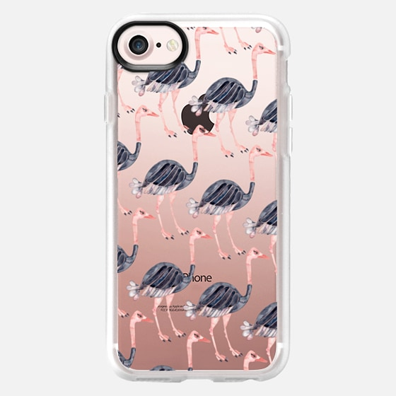 Ostrich Pattern on Transparent - Classic Grip Case