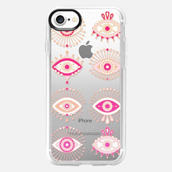 Evil Eyes - Pink/Peach Ombré on Transparent - Classic Grip Case