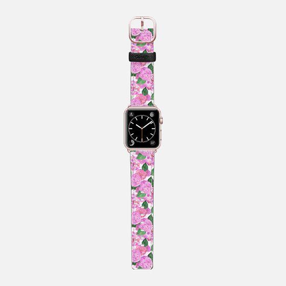 Pink Watercolor Hydrangeas (watch) - Saffiano Leather Watch Band