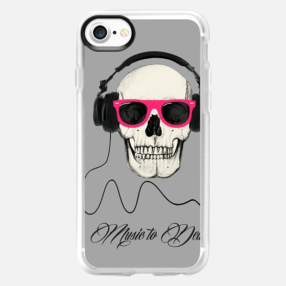 Skull and headphones music to death - Wallet Case