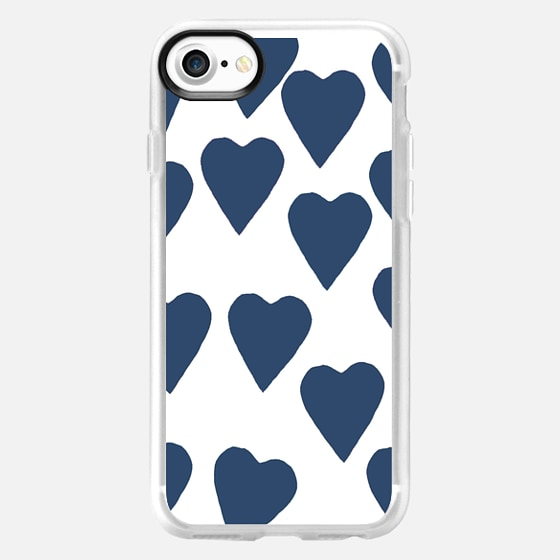 Hearts Navy on White -