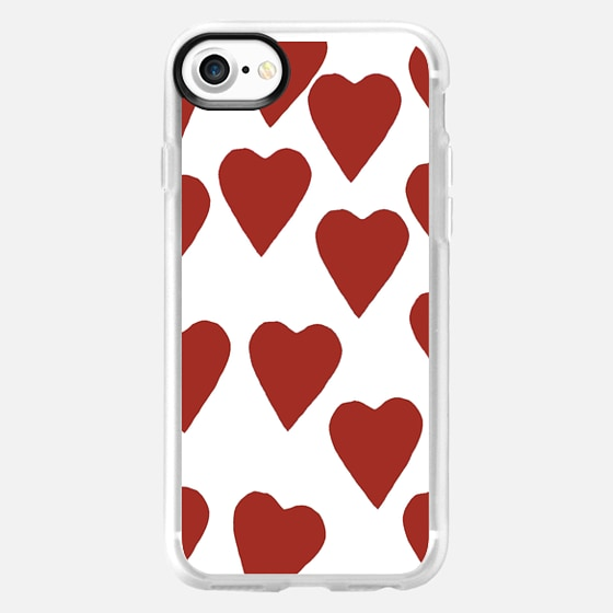 Hearts Red on White -