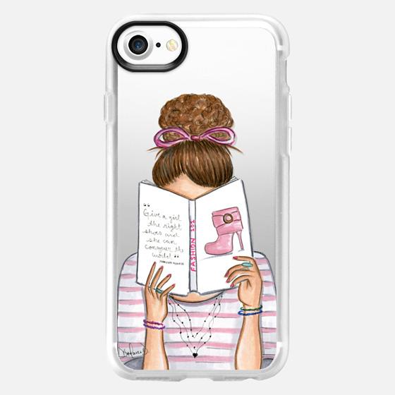 Fashion reading nerd book addict fashion illustration - Wallet Case