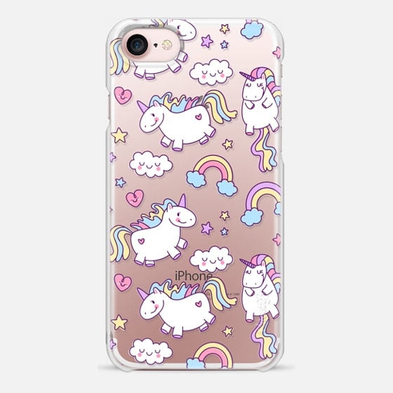 iPhone 7 Case - Unicorns & Rainbows - Clear