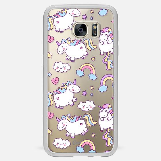 Galaxy S7 Edge Case - Unicorns & Rainbows - Clear