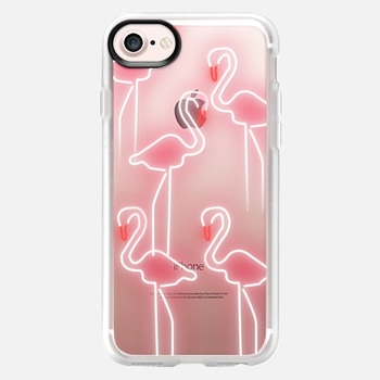 iPhone 7 Case Neon inspired flamingo pattern