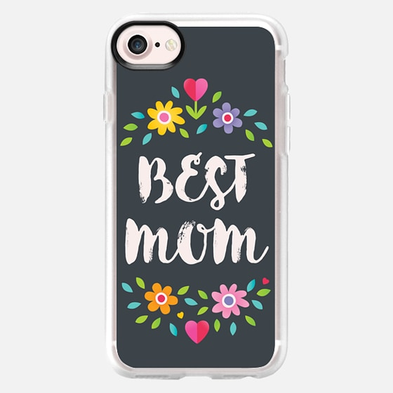 BEST MOM TYPOGRAPHIC CHARCOAL GRAY FLOWER GARLAND WREATH MUM MOTHER MOTHER'S DAY FLOWERS DAISY PRETTY CUTE SWEET GIRLY - Wallet Case