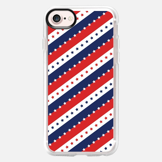 STARS AND STRIPES RED WHITE BLUE INDEPENDENCE DAY AMERICAN FOURTH 4TH JULY FLAG PATRIOTIC NATIONAL ANGLED - Wallet Case
