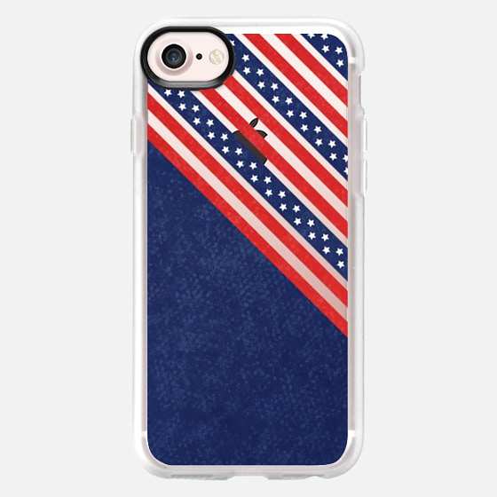 STARS AND STRIPES TRANSPARENT RED WHITE BLUE INDEPENDENCE DAY AMERICAN FOURTH 4TH JULY MINI FLAG PATRIOTIC NATIONAL - Wallet Case