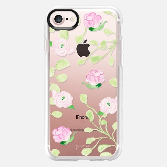 Pink Ranunculus and Garden Roses Flowers by Simply Jessica Marie - Snap Case