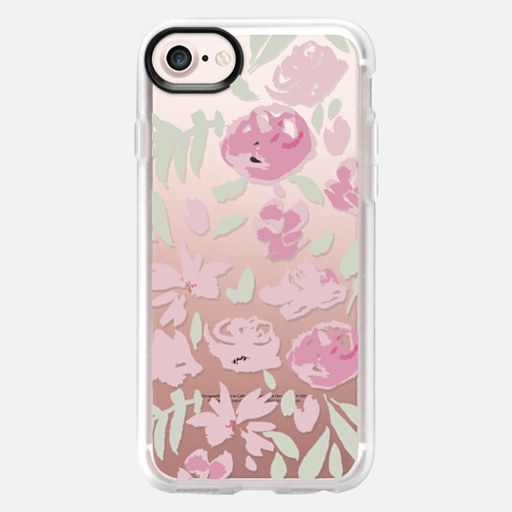 soft floral pink and light green - Classic Grip Case