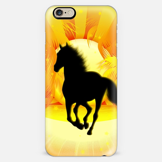 Wild Horse Running on Tropical Sunset -