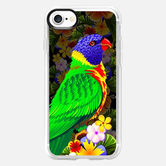 Rainbow Lorikeet on Tropical Flowers - Classic Grip Case