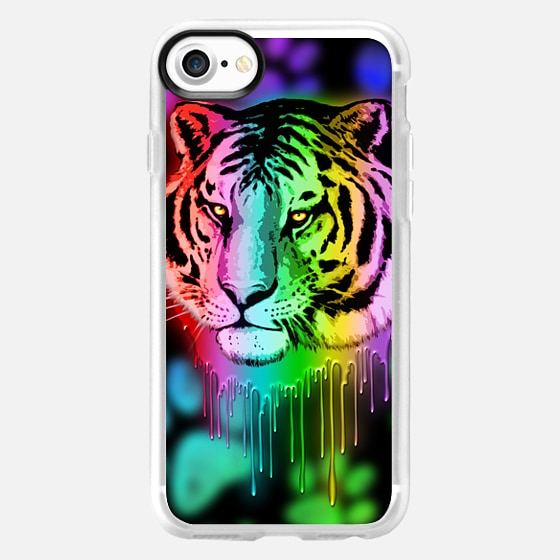 Tiger Neon Dripping Rainbow Colors - Wallet Case