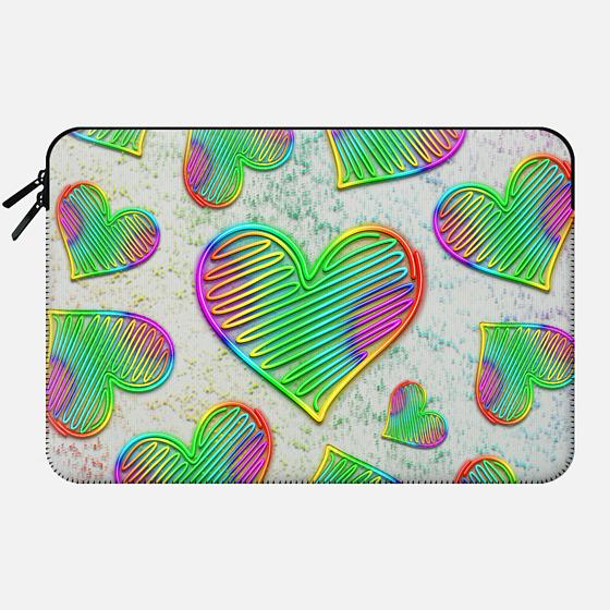 Heart Love Rainbow Neon Sign - Macbook Sleeve