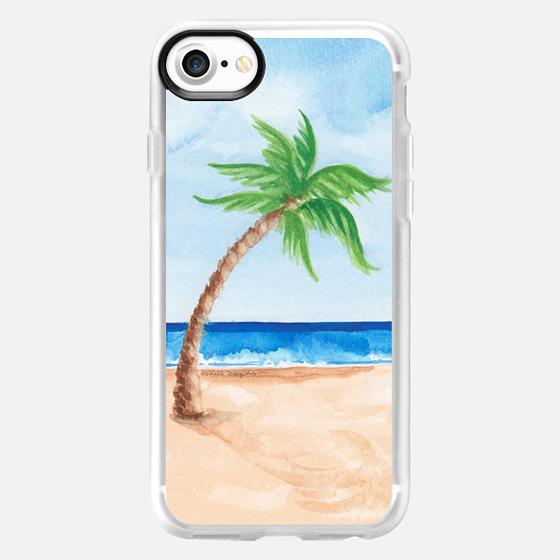 Watercolor Beach & Palm Tree - Wallet Case