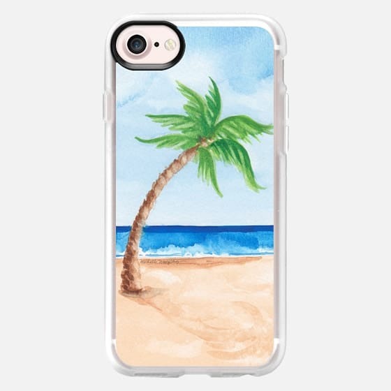 Watercolor Beach & Palm Tree - Classic Grip Case