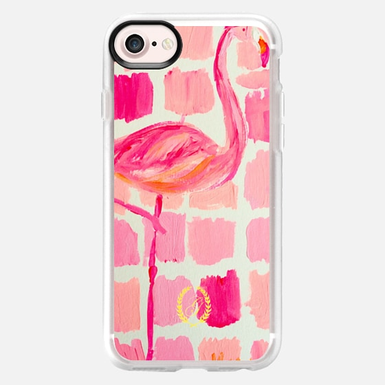 Pink Flamingo Painting - Preppy Art - Wallet Case