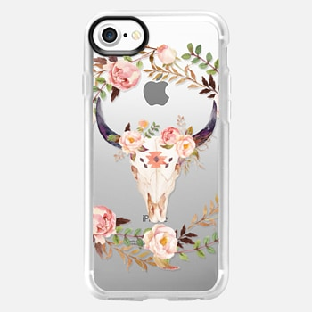 iPhone 7 เคส Watercolour Floral Bull Skull - Transparent